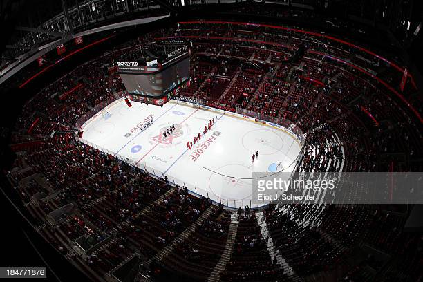 General view as the Florida Panthers line up for the national anthem prior to the start of the game against the Los Angeles Kings at the BBT Center...
