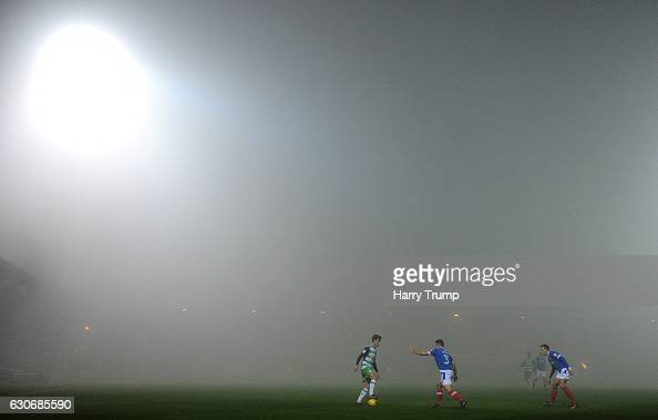 General view as the fog settles during the Sky Bet League Two match between Yeovil Town and Portsmouth at Hush Park on December 30 2016 in Yeovil...