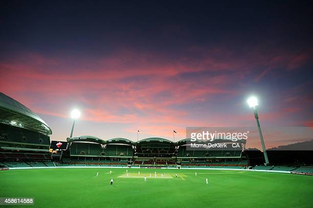 A general view as the game continues under lights during the Sheffield Shield match between South Australia and New South Wales at Adelaide Oval on...