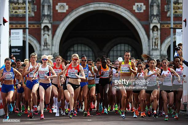 A general view as the Half Marathon Women starts on day 5 of the 23rd European Athletics Championships held at Museumplein in front of Rijksmuseum on...