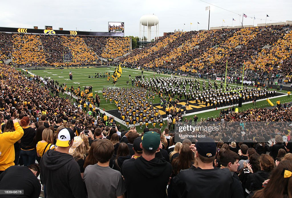 General view as the Iowa Hawkeyes take the field for their match-up against the Michigan State Spartans on October 5, 2013 at Kinnick Stadium in Iowa City, Iowa. Michigan State won 26-14.