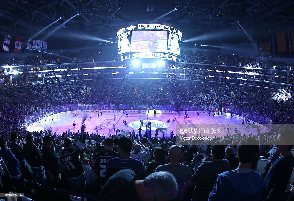 General view as the Los Angeles Kings fans show their support as the teams take the ice just prior to the opening faceoff of Game Seven of the Western Conference Semifinals between the San Jose Sharks and the Los Angeles Kings during the 2013 NHL Stanley Cup Playoffs at Staples Center on May 28, 2013 in Los Angeles, California.