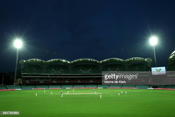 A general view as the match continues under lights during day two of the Sheffield Shield match between South Australia and New South Wales at...