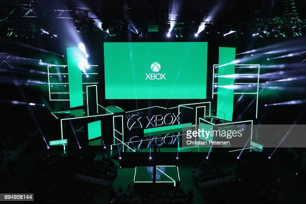 General view as the Microsoft xBox E3 briefing come to a close at the Galen Center on June 11 2017 in Los Angeles California The E3 Game Conference...