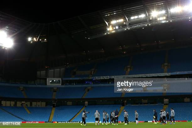 A general view as the Monaco players warm up during a Monaco Training Session and Press Conference ahead of their UEFA Champions League Round of 16...
