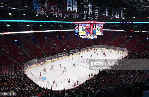 General view as the Montreal Canadiens and the Washington Capitals skate during warmups prior to the NHL game at the Bell Centre on April 2 2015 in...