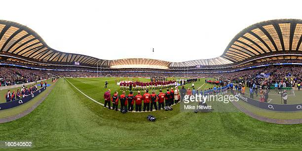 A general view as the national anthems are sung prior to the RBS Six Nations match between England and Scotland at Twickenham Stadium on February 2...