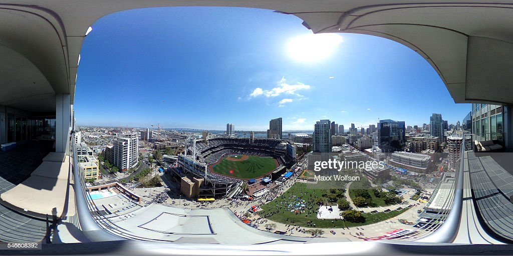 A general view as the National League AllStars take batting practice before the 87th Annual MLB AllStar Game at PETCO Park on July 12 2016 in San...