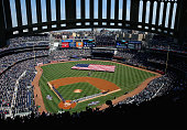 General view as the New York Yankees and the Toronto Blue Jays line up for the national anthems before Opening Day on April 6 2015 at Yankee Stadium...