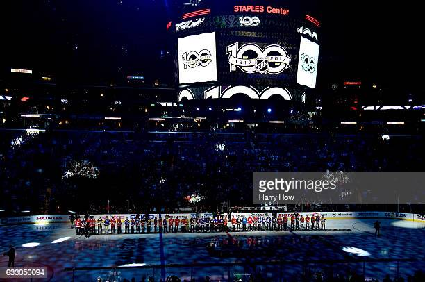 A general view as the NHL 100 best players stand on the ice prior to the game between the Pacific Division AllStars and the Central Division AllStars...