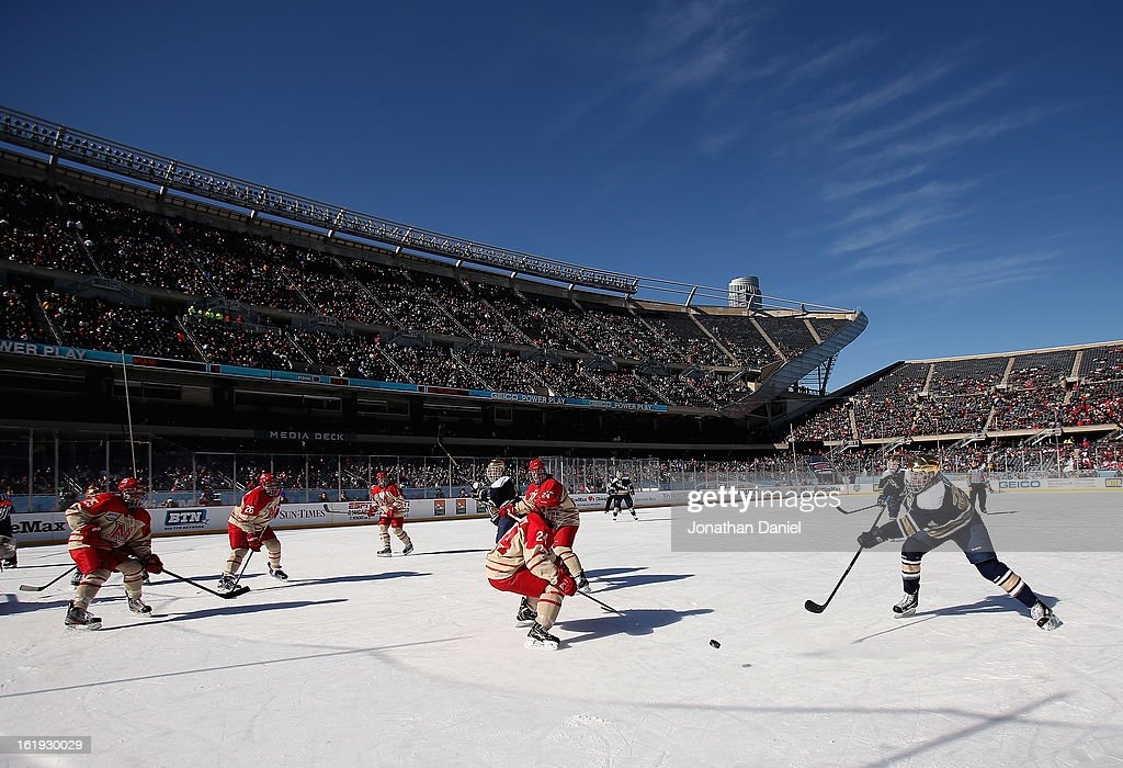 A general view as the Notre Dame Fighting Irish take on the Miami Redhawks during the Hockey City Classic at Soldier Field on February 17, 2013 in Chicago, Illinois.