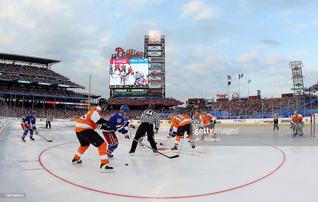 A general view as the Philadelphia Flyers play against the New York Rangers during the 2012 Bridgestone NHL Winter Classic Alumni Game on December 31, 2011 at Citizens Bank Park in Philadelphia, Pennsylvania.