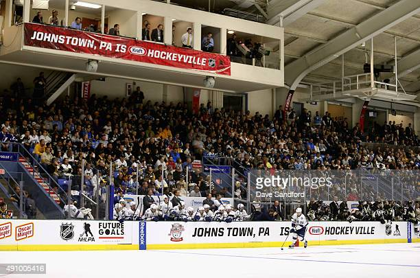 A general view as the Pittsburgh Penguins play the Tampa Bay Lightning in the NHL Kraft Hockeyville USA preseason game on September 29 2015 at the...