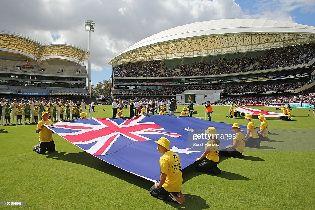 A general view as the players stand for the national anthems during day one of the Second Ashes Test Match between Australia and England at Adelaide Oval on December 5, 2013 in Adelaide, Australia.