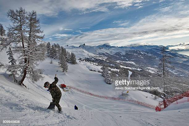 A general view as the race is cancelled during the Audi FIS Alpine Ski World Cup Women's Downhill on February 13 2016 in Crans Montana Switzerland