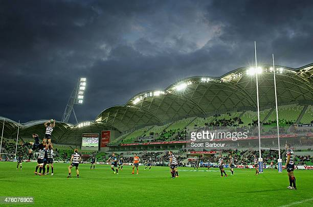 A general view as the Rebels win a lineout during the round 17 Super Rugby match between the Rebels and the Bulls at AAMI Park on June 6 2015 in...