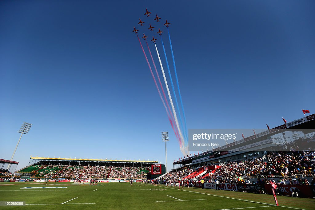 A general view as the Red Arrows fly past at The Sevens stadium during the Dubai Sevens, as part of the second round of the HSBC Sevens World Series on November 30, 2013 in Dubai, United Arab Emirates.