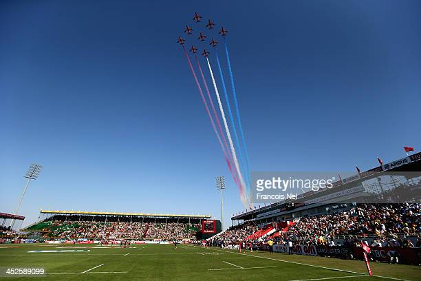 A general view as the Red Arrows fly past at The Sevens stadium during the Dubai Sevens as part of the second round of the HSBC Sevens World Series...