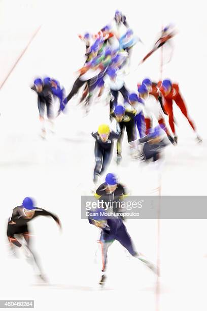 A general view as the skaters compete in the Mass Start Mens race on day three of the ISU World Cup Speed Skating held at Thialf Ice Arena on...