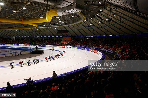 A general view as the skaters compete in the Mass Start Women race during day three of the ISU World Cup Speed Skating Finals held at Thialf Ice...
