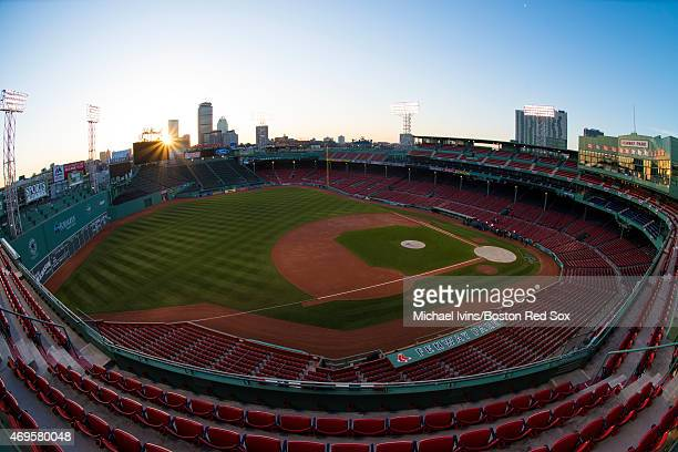 General view as the sun rises over Fenway Park before a home opening game between the Boston Red Sox and the Washington Nationals in Boston...