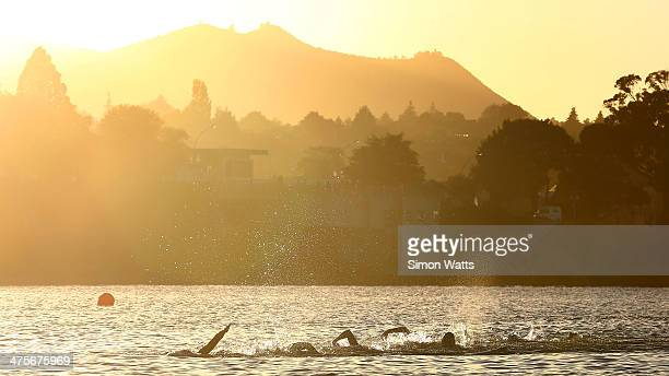 General view as the sun rises over Lake Taupo during the New Zealand Ironman on March 1 2014 in Taupo New Zealand