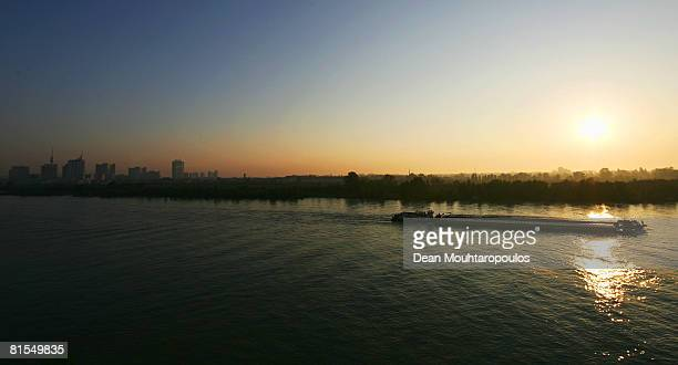 A general view as the sun rises over the city and River Danube during UEFA EURO 2008 on June 11 2008 in Vienna Austria