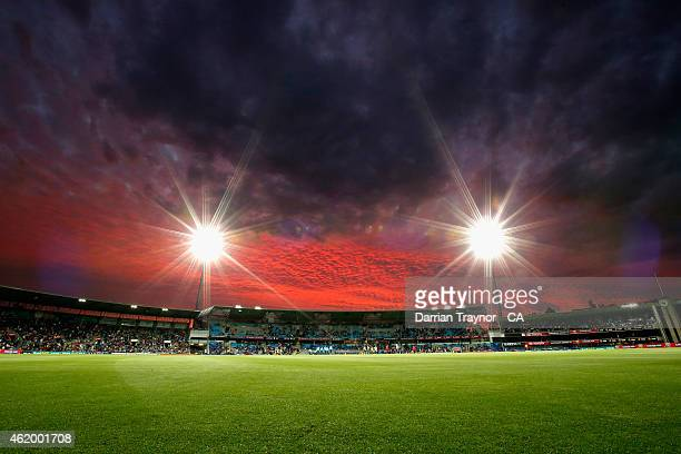 A general view as the sun set during the One Day International Tri Series match between Australia and England at Blundstone Arena on January 23 2015...