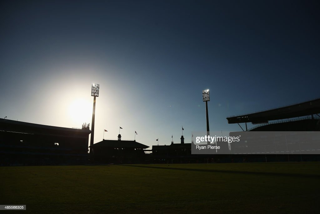 A general view as the sun sets before the round five AFL match between the Sydney Swans and the Fremantle Dockers at Sydney Cricket Ground on April 19, 2014 in Sydney, Australia.
