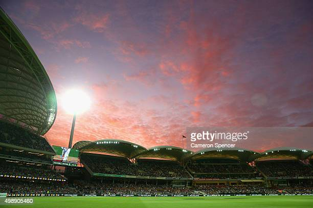 A general view as the sun sets during day one of the Third Test match between Australia and New Zealand at Adelaide Oval on November 27 2015 in...