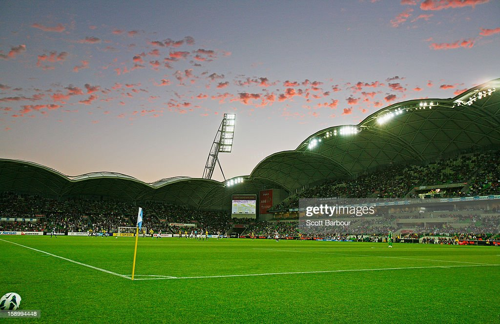 A general view as the sun sets during the round 15 A-League match between the Melbourne Victory and Wellington Phoenix at AAMI Park on January 5, 2013 in Melbourne, Australia.