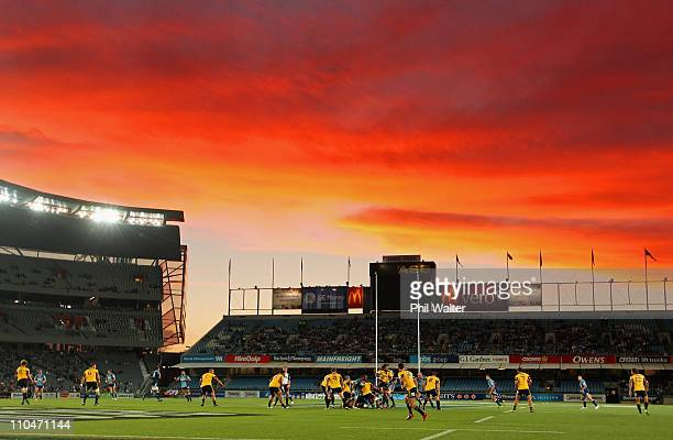 A general view as the sun sets during the round five Super Rugby match between the Blues and the Hurricanes at Eden Park on March 19 2011 in Auckland...