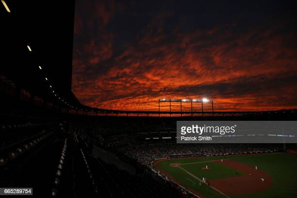 A general view as the sun sets during the third inning as the Toronto Blue Jays play the Baltimore Orioles at Oriole Park at Camden Yards on April 5...