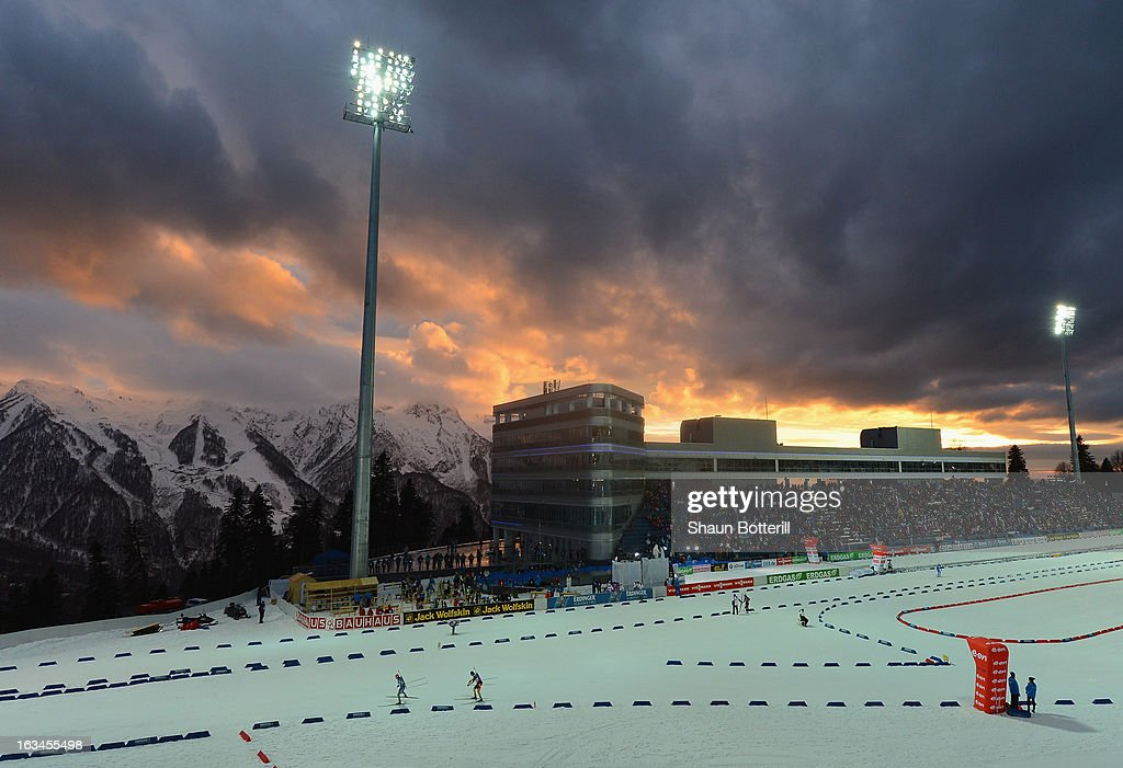 A general view as the sun sets during the Women's 4x6km Relay event at theBiathlon & Ski Complex on March 10, 2013 in Sochi, Russia.