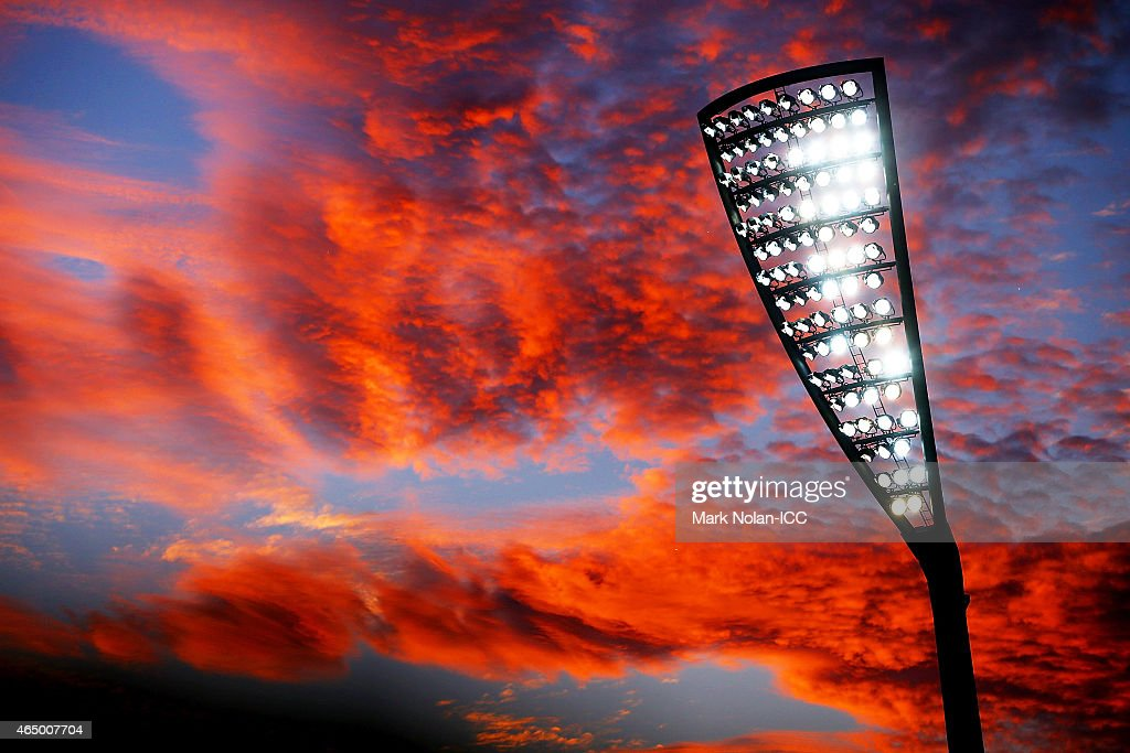 A general view as the sun sets over the ground during the 2015 ICC Cricket World Cup match between South Africa and Ireland at Manuka Oval on March 3, 2015 in Canberra, Australia.