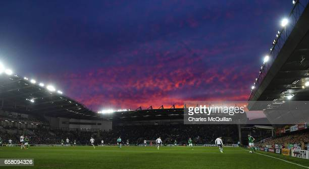 General view as the sun sets over the stadium during the FIFA 2018 World Cup Qualifier between Northern Ireland and Norway at Windsor Park on March...