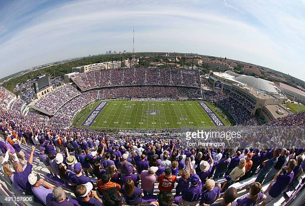 A general view as the TCU Horned Frogs take on the Texas Longhorns at Amon G Carter Stadium on October 3 2015 in Fort Worth Texas