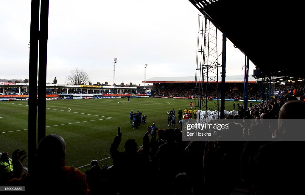 A general view as the teams come out prior to the FA Cup with Budweiser Third Round match between Luton Town and Wolverhampton Wanderers at Kenilworth Road on January 5, 2013 in Luton, England.