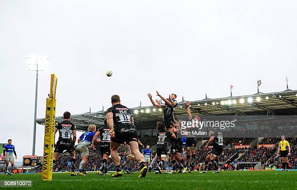 A general view as the teams compete for a line out during the Aviva Premiership match between Exeter Chiefs and Saracens at Sandy Park on February 7...