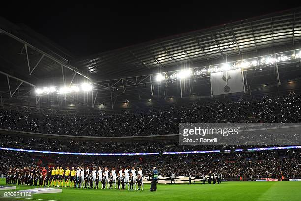 A general view as the teams lin up during the UEFA Champions League Group E match between Tottenham Hotspur FC and Bayer 04 Leverkusen at Wembley...