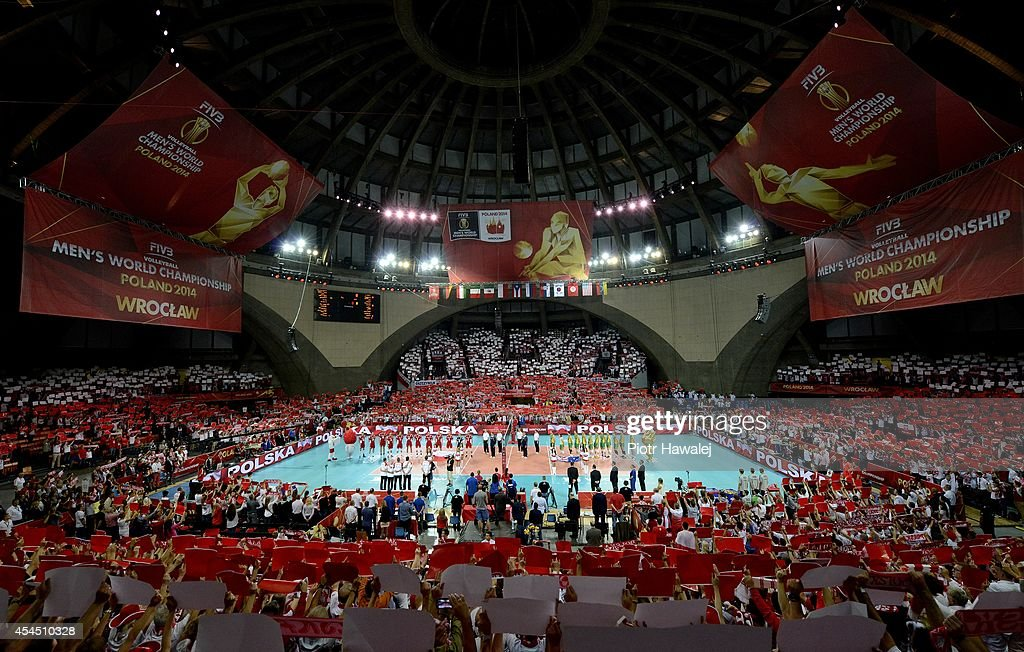 A general view as the teams line up ahead of the FIVB World Championships match between Australia and Poland on September 2, 2014 in Wroclaw, Poland.