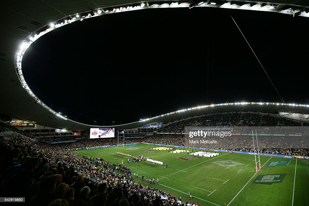 A general view as the teams line up before the International Test match between the Australian Wallabies and England at Allianz Stadium on June 25, 2016 in Sydney, Australia.