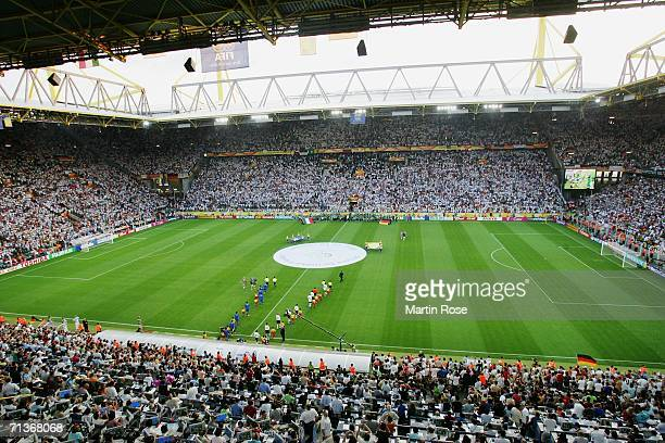 General view as the teams walk out onto the pitch prior to the start of the FIFA World Cup Germany 2006 Semifinal match between Germany and Italy...
