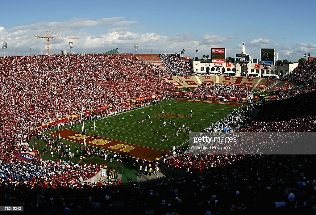 General view as the UCLA Bruins kick off to the USC Trojans to start the college football game at the Los Angeles Memorial Coliseum on December 1...