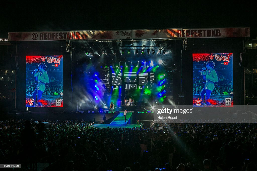 A general view as The Vamps perform at Redfest DXB at Media City Amphitheatre on February 11, 2016 in Dubai, United Arab Emirates.