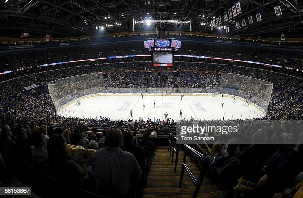 General view as the Vancouver Canucks play against the St Louis Blues during Game Four of the Western Conference Quarterfinal Round of the 2009...