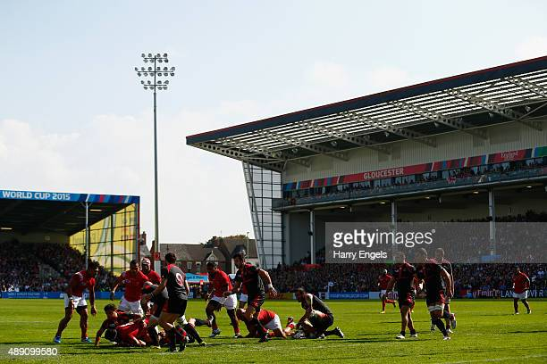 A general view as Tonga go on the attack during the 2015 Rugby World Cup Pool C match between Tonga and Georgia at Kingsholm Stadium on September 19...
