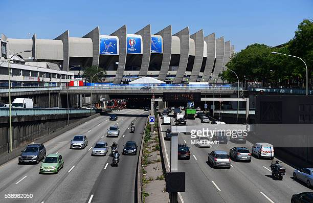 A general view as traffic passes along the peripherique ahead of the UEFA Euro 2016 at Parc des Princes on June 9 2016 in Paris France The opening...