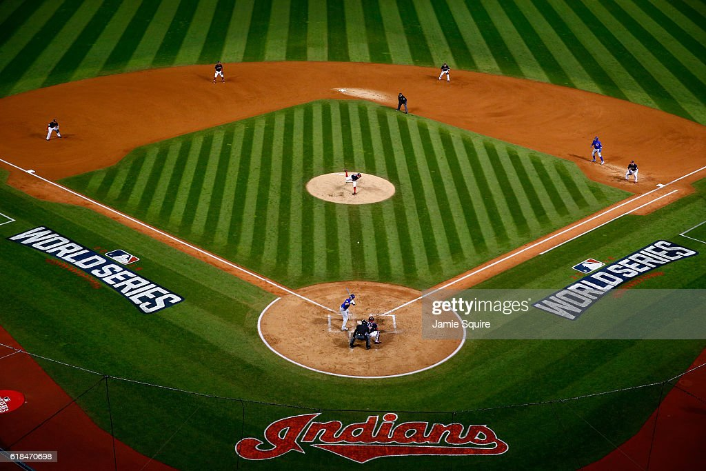 A general view as Trevor Bauer #47 of the Cleveland Indians throws a pitch during the second inning against the Chicago Cubs in Game Two of the 2016 World Series at Progressive Field on October 26, 2016 in Cleveland, Ohio.