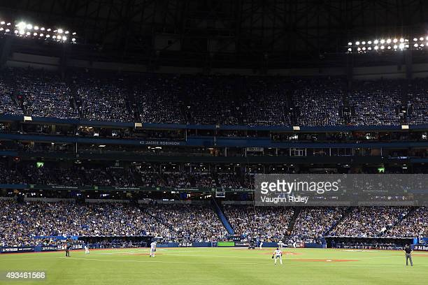 A general view as Troy Tulowitzki of the Toronto Blue Jays hits a single in the seventh inning against the Kansas City Royals during game four of the...